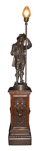 """Newel Post Lamp 52""""h, Carved Oak Pedestal 36""""h"""