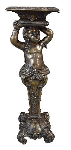 """Spelter Cherub Pedestal 42""""h"""