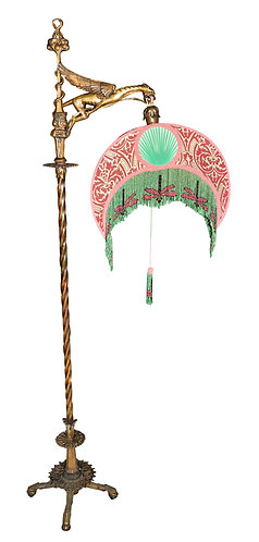Winged Griffin Floor Lamp w/ Beaded Dragonfly Shade