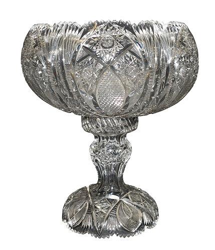 c. 1860's Brilliant Cut Glass Punch Bowl