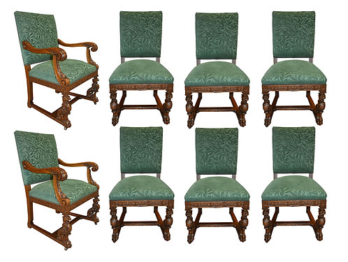 Set of 8 Carved Oak  Griffin Chairs