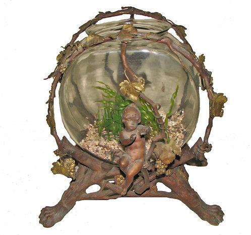 Heavy Bronze Fish Bowl W/ Cherub and Lion Heads