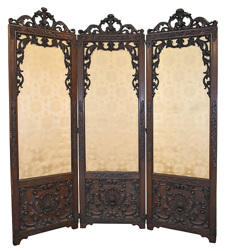 Carved Oak 3 Panel Room Divider