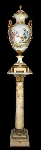 """38""""h Sevres Porcelain, Marble & Bronze Pedestal 45""""h"""