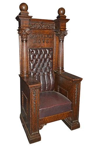 "All Original Oak Court House Chair 73""h x 32""w"