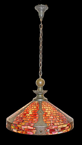 """Outstanding Exotic Red Colored Hanging Dome w/ Hammered Bronze Inlay27""""w"""