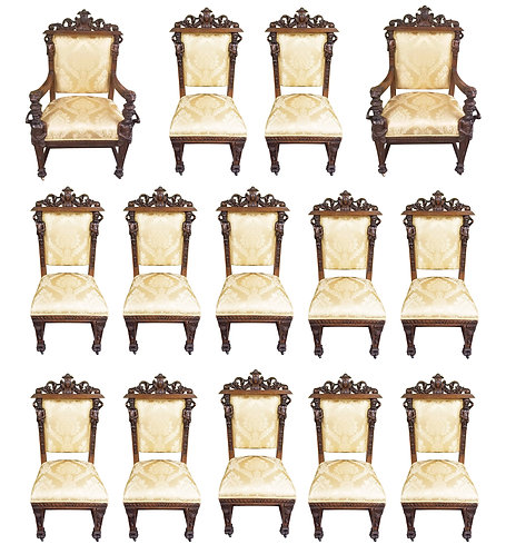 Set of 14 Oak Man of the Mountain Dining Chairs 2 Arm, 12 Sides