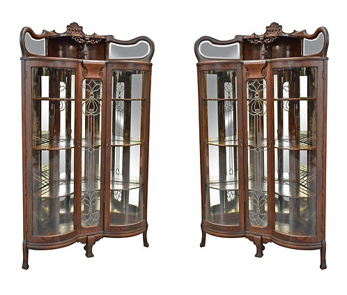 "Pair of Oak Corner Cabinets 43""w x 73""h"
