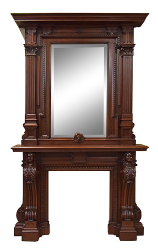 "Mahogany Mantel with Mirror and Carved Women Faces 118""h x 71""w"