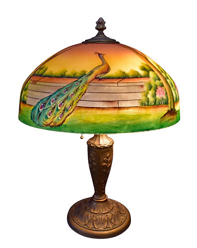 Reverse Painted Peacock Lamp