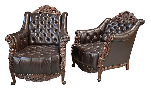 Pair of Carved Leather Chairs