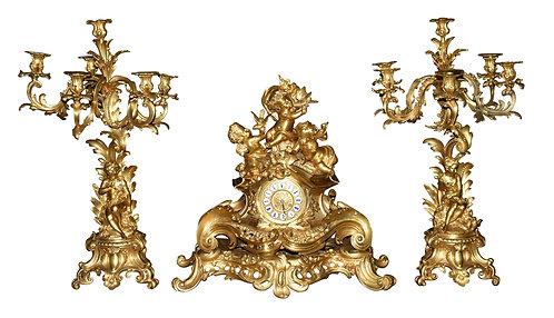 "Outstanding Dore' Bronze Cherub 3 pc Clock Set, Clock 24""h, Candelabra 30""h"