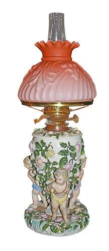 Rare, Majolica Oil Lamp  w/ Pink Satin Glass Shade
