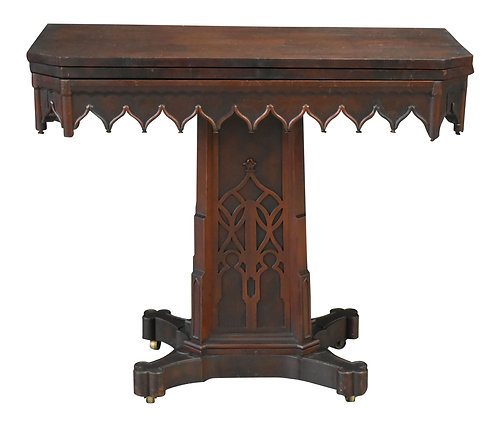 Gothic Rosewood Game Table Attr: A.J. Davis
