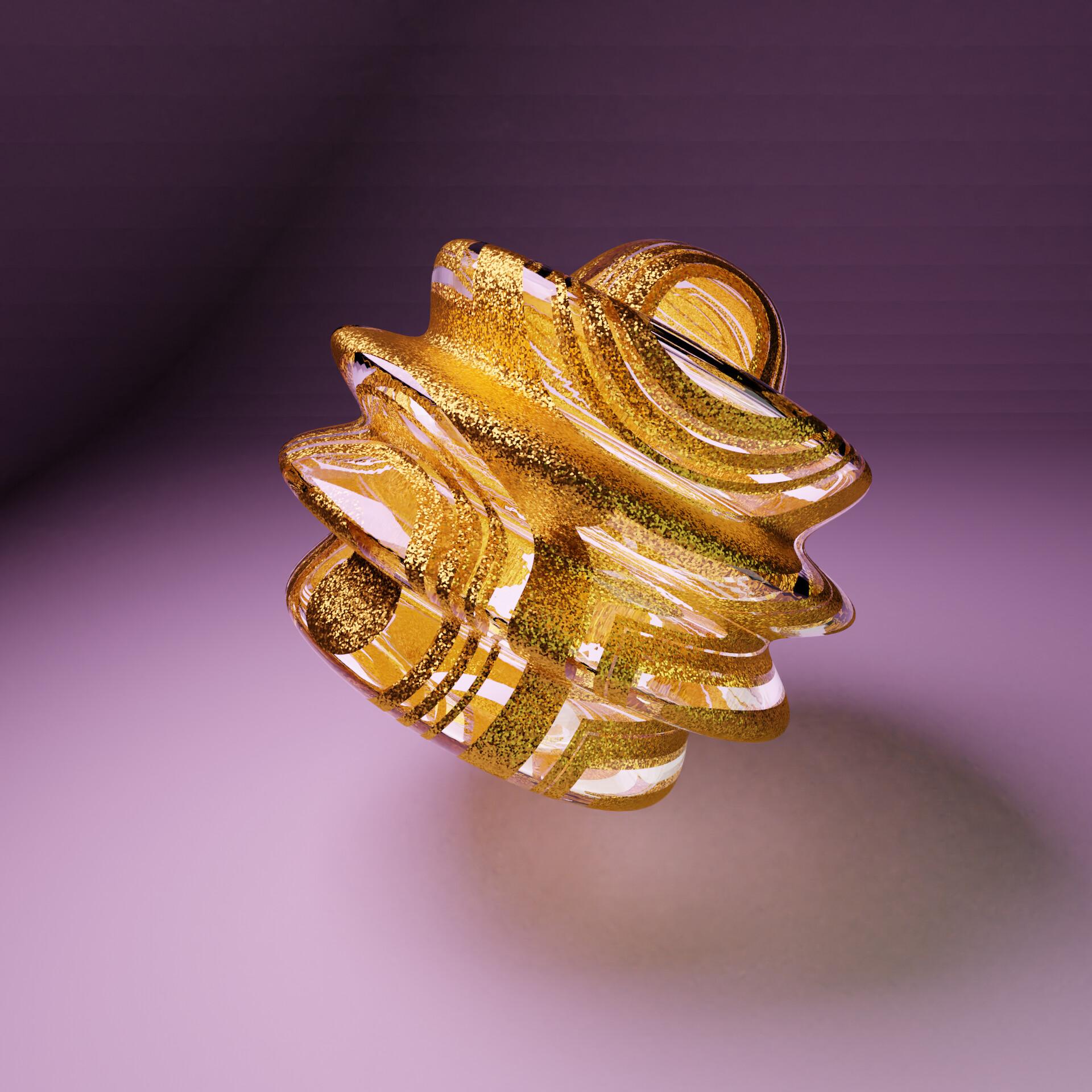 gold glas bead