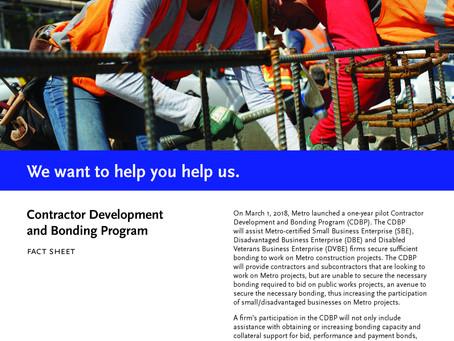 METRO Contractor Development and Bonding Program