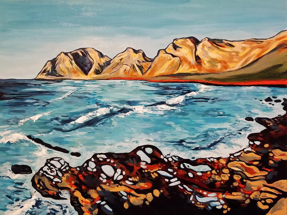 """Coast of Artá"", 16"" x 12"" acrylic on wood panel"