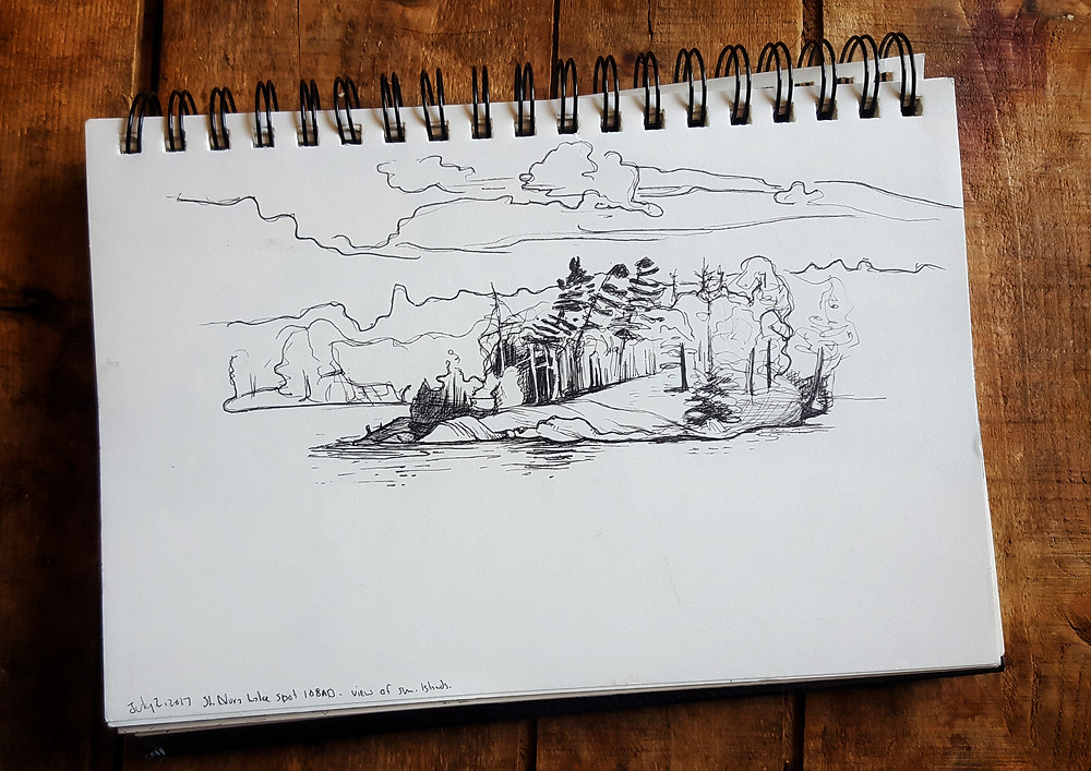 Sketch one, an island off in the distance.