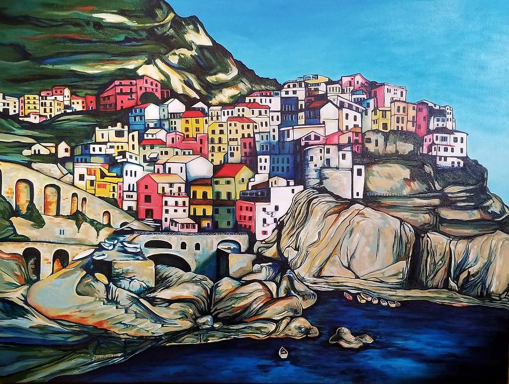 """Manarola"" 40"" x 30"" acrylic on canvas"