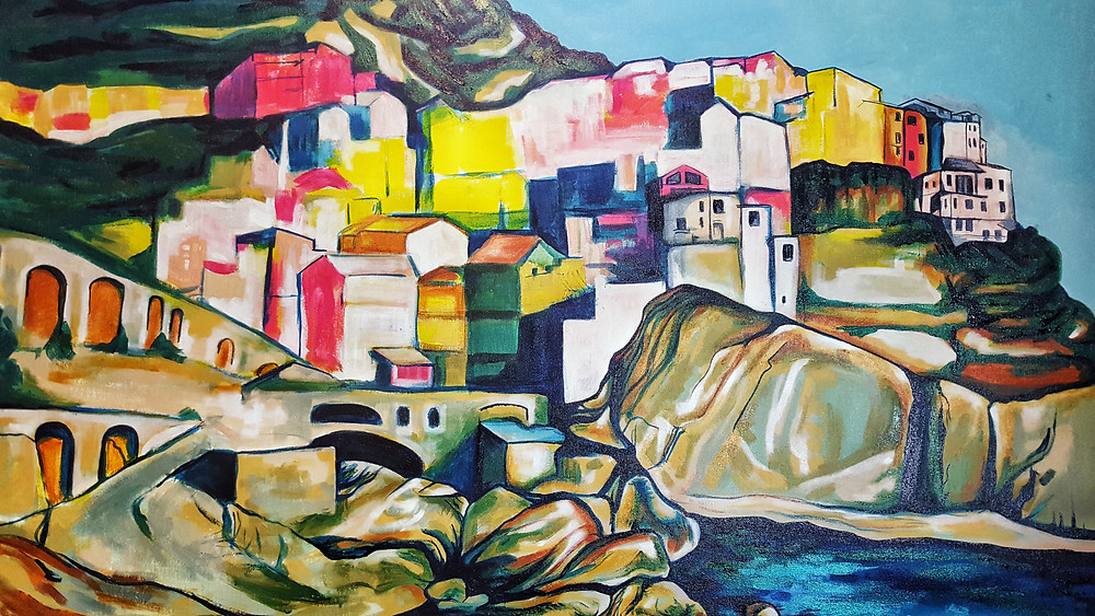 """A section of my new painting """"Manarola, Cinque Terre"""""""