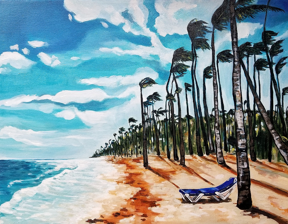 """Oceanside Lounger"", acrylic on canvas, 18""x14"""