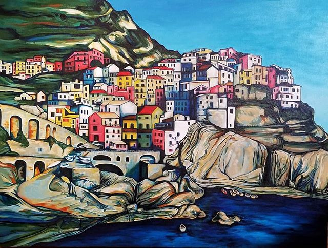 """My painting """"Manarola"""" in the Spring Showcase."""