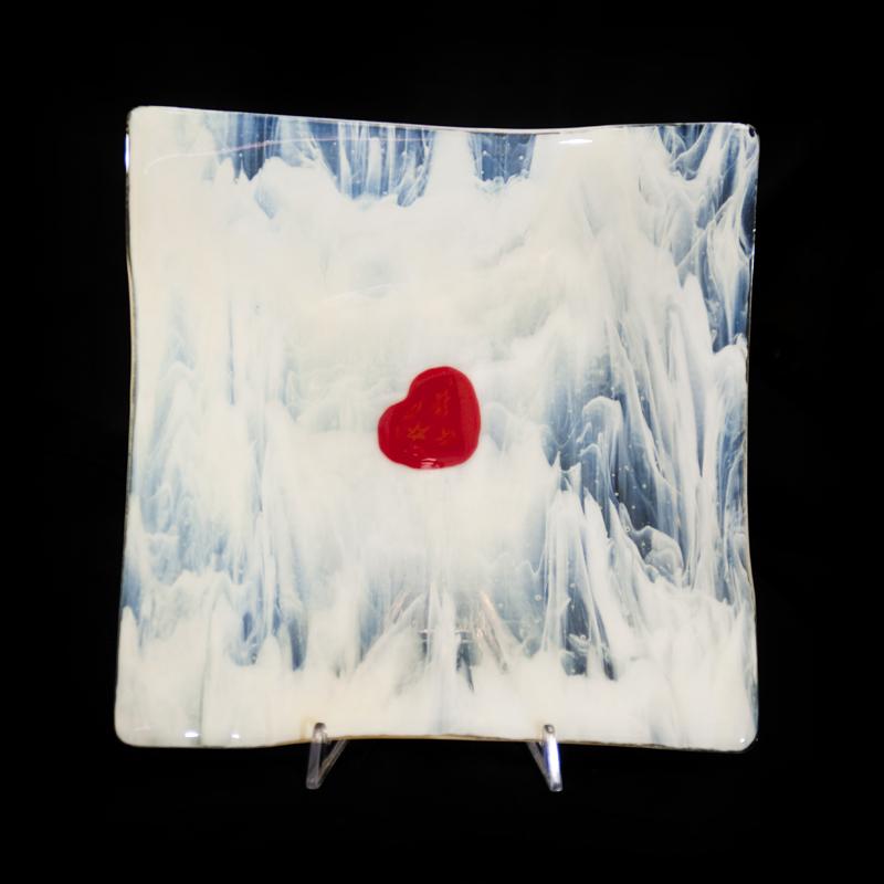 Jon Piccolo Glass Floating Heart Of Love Platter