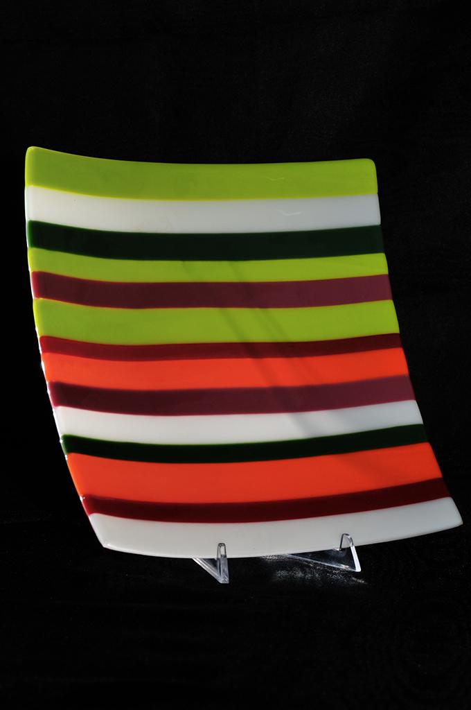 Jon Piccolo Glass Large Lime Orange Striped Platter