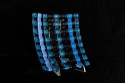 Jon Piccolo Glass Blue Weave Dish
