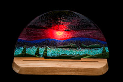 Jon Piccolo Glass Sunrise Light on Oak Base