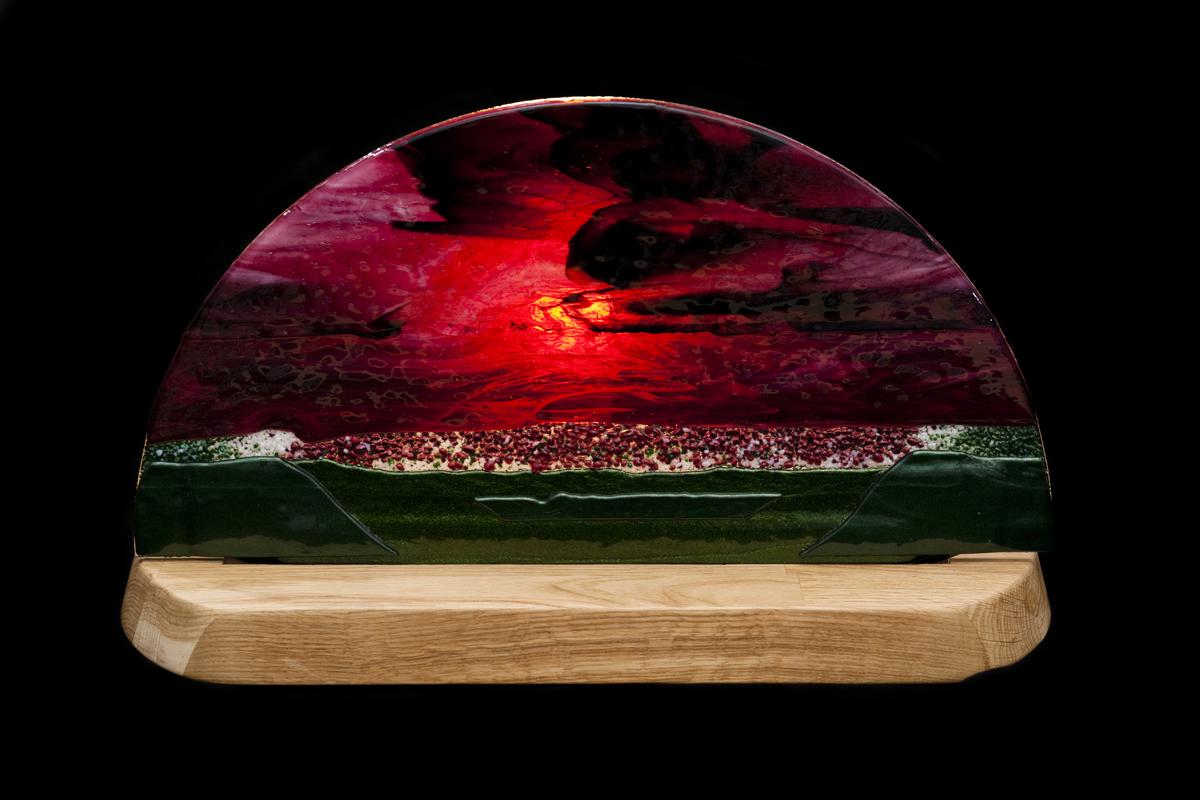Jon Piccolo Glass Sunset Light on Oak Base