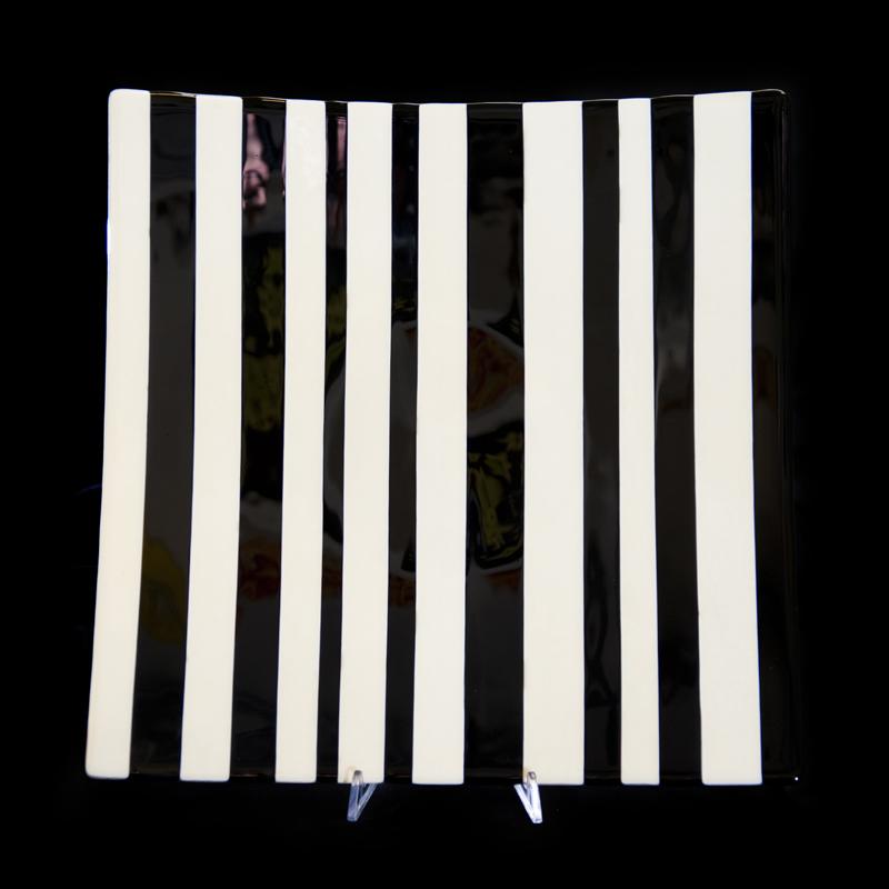 Jon Piccolo Glass Black & White Stripe Platter