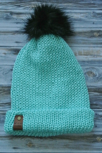 robins egg blue knitted hat