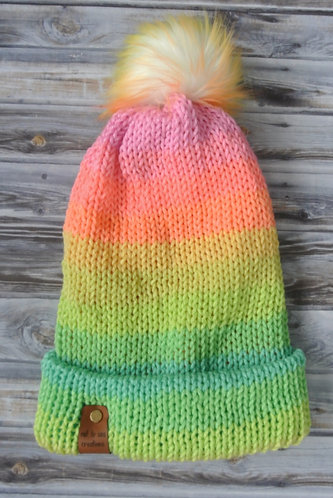 unicorn fluff knitted hat with brim