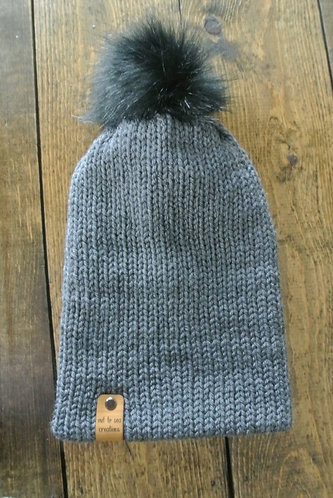 charcoal grey knitted beanie