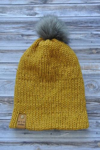 mustard knitted beanie