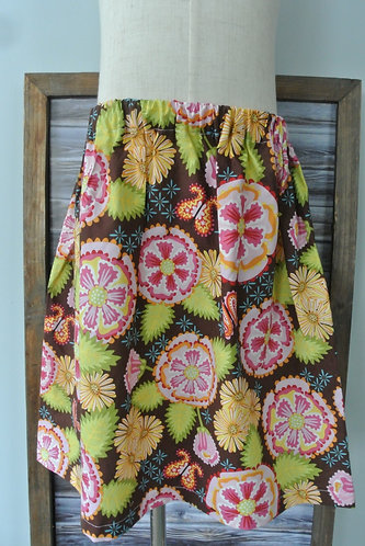 flowers on brown skirt size 8