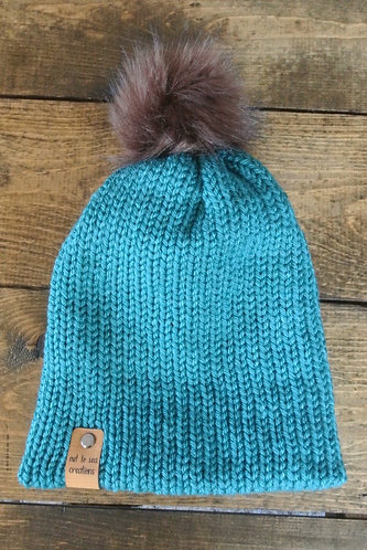 teal double layer knitted hat
