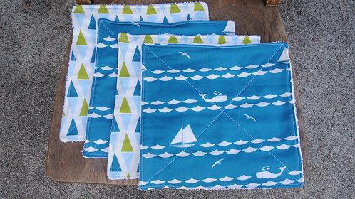 Whales & Sailboats washcloth set (4)