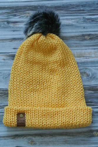 sunshine yellow knitted hat