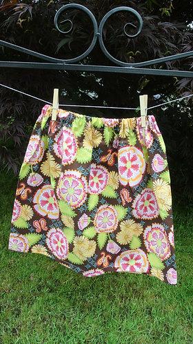 Brown & Pink flowered girls skirt 7/8