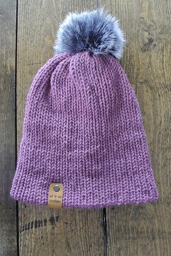 pale plum knitted beanie