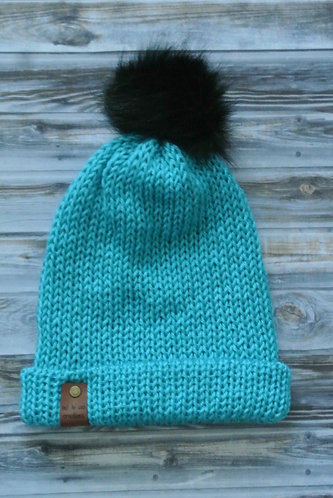 turquoise double layer knitted hat