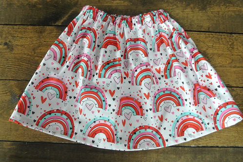 rainbow & hearts skirt size 6