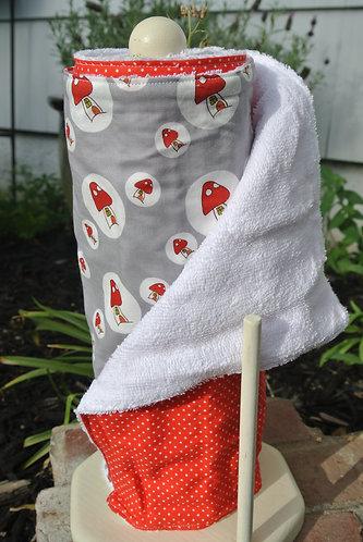 Mushrooms & polka dots re-useable towel set