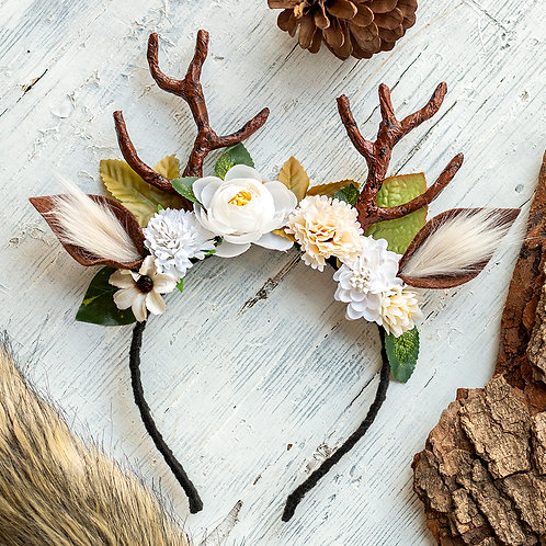 Small Deer Antler Headband with White Flowers