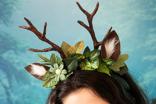 Deer Antlers Headband with Leaves