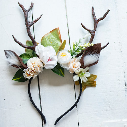 Deer Antler Headband with White Flowers