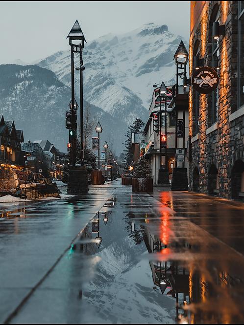 Rainy Banff Avenue