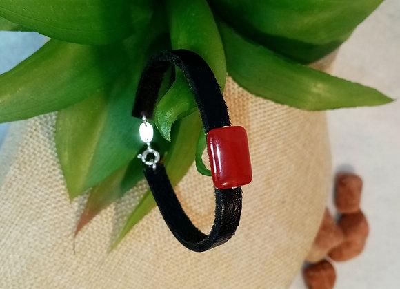 Bracelet cuir et Rubis